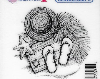 Deep Red Cling Stamps --   Beach Day  -- NEW -- (#3236)