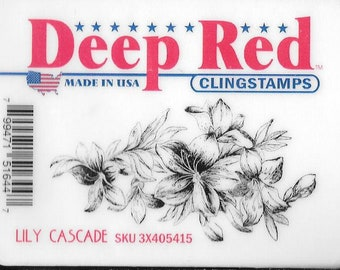Deep Red Cling Stamps --  Lily Cascade -- NEW -- (#2955)