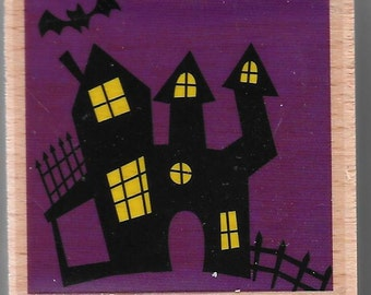 Haunted House #2 Halloween Stamp --   NEW  -- Wood Mounted Rubber Stamp --  Studio G Brand --   (#1430)