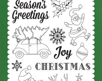 Carta Bella Cling Stamps -- Christmas Time -- NEW -- (#3334)