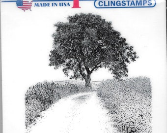 Deep Red Cling Stamps --  Country Road -- NEW -- (#2738)