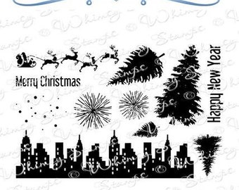 Whimsy Stamps --   Christmas Scene Builder    -- NEW -- (#3968)