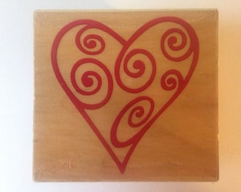 Swirl Heart Open Stamp -- NEW -- Wood Mounted Rubber Stamp -- Rubber Stampede Brand -- (#1422)