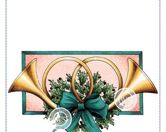 Whimsy Stamps --  Christmas Horns   -- NEW -- (#2944)