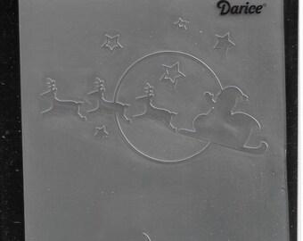 Darice Embossing Folder  --  New  -- Santa Flying Sleigh  --  (#3101)