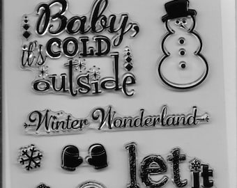 Holiday Trendz Clear Stamp Set --  NEW  -- Let It Snow   --      (#1853)
