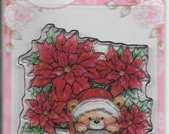 Wild Rose Studio Clear Stamp   --  NEW -- Teddy in Pot  --  (#1902)