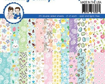 6 x 6 Paper Pad ~   Eggstra Bunnies   ~ Double sided NEW (#3984)