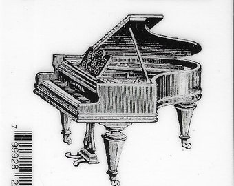 Deep Red Cling Stamps --     Baby Grand Piano    -- NEW -- (#3809)
