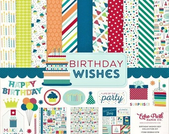 12 x 12 Collection Kit ~    Birthday Wishes Boy    ~      NEW  (#4242)