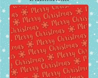 Carta Bella Embossing Folder  --  New  -- Merry Christmas Snowflake --  (#4087)
