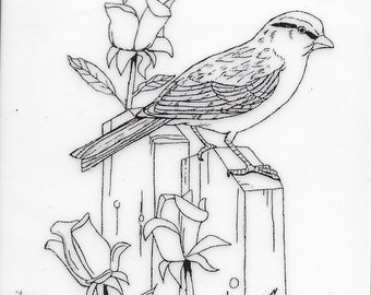 Deep Red Cling Stamps -- Bird and Roses  -- NEW -- (#3391)