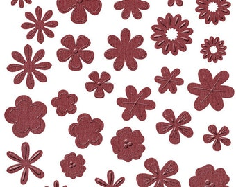 NEW  --  Bazzill Basics Flower Pot --  108 pieces  --  Die Cut Flowers  -- Red Carpet (red)  (#120)