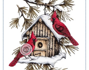 Whimsy Stamps --  Cardinal Birdhouse -- NEW  -- (#2860)