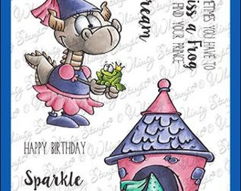 Whimsy Stamps --   Princess Dragons   -- NEW  -- (#4260)