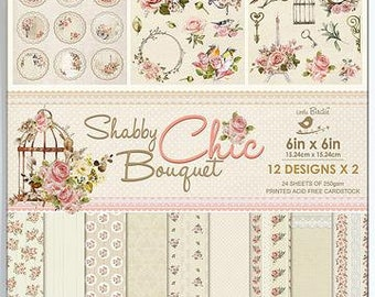 6 x 6 Paper Pad ~ Shabby Chic Bouquet ~ Double sided ~ NEW (#3752)