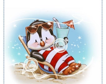 Whimsy Stamps --  Penguin Beach Chair -- NEW  -- (#2361)