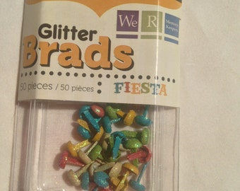 We R Memory Keepers Brand --  Mini Glitter Brads  --  50 pieces  --  Fiesta  --  NEW  -- (#3023)
