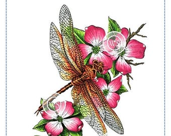 Whimsy Stamps -- Dragonfly Floral  -- NEW -- (#2691)