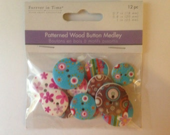 Forever In Time  --  Patterned Wood Button Medley  --  NEW  --  12 pieces  --  FUNKY  --  (#814)