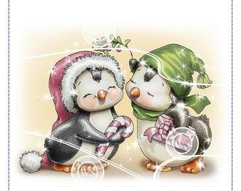 Whimsy Stamps --  Penguins Under the Mistletoe -- NEW -- (#2854)