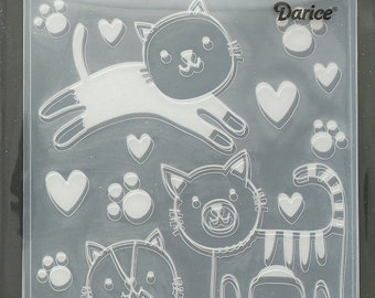 Darice Embossing Folder  --  New  --  Cats  --  (#3899)
