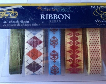 Little Yellow Bicycle   --  Autumn Bliss  --     5 piece Ribbon Set      --  NEW   --   (#1859)