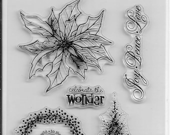 Holiday Trendz Clear Stamp Set --  NEW  -- Poinsettia  --      (#3273)
