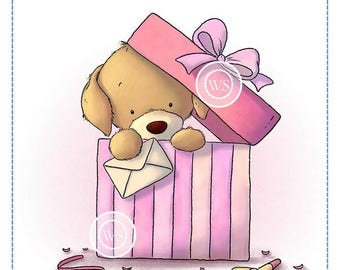 Whimsy Stamps --  Puppy in Present -- NEW -- (#2421)
