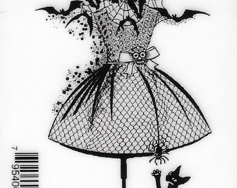 Deep Red Cling Stamps --  Halloween Dress Form  -- NEW -- (#3263)