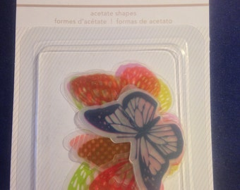 American Crafts  --  Acetate Butterflies  --  New  --    (#1010)  13 pieces