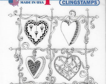 Deep Red Cling Stamps --    Color Me Heart Frame   -- NEW -- (#3861)