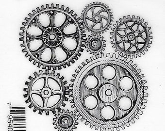 Deep Red Cling Stamps --     Cogs and Gears    -- NEW -- (#3804)