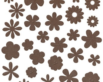 NEW  --  Bazzill Basics Flower Pot --  108 pieces  --  Die Cut Flowers  -- Flat Broke (Brown)  (#119)