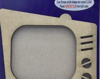 Clear Scraps -- Mini Shaker  --  Retro TV  -- NEW  (#3954)