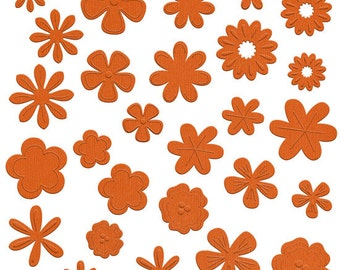 NEW  --  Bazzill Basics Flower Pot --  108 pieces  --  Die Cut Flowers  -- Tootsie (orange)  (#117)