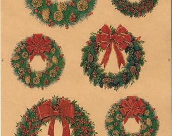 Seasonal Kraft Stickers  - NEW (#1962) -  Christmas Wreaths, Vintage Christmas