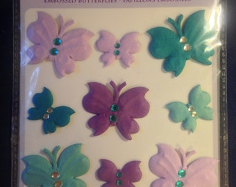 Forever In Time Brand --  Handmade Paper Embossed Butterflies  --  Dimensional Butterflies  -- NEW --  (#1018)
