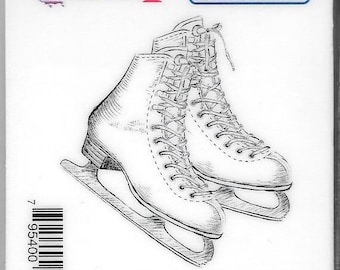 Deep Red Cling Stamps --   Ice Skates -- NEW -- (#2937)