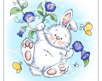Whimsy Stamps -- Morning Glory Bunny -- NEW -- (#2687)