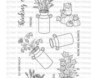Your Next Stamp --  Autumn Milk Cans  -- NEW -- (#4165)