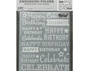 Darice Embossing Folder  --  New  --  Celebrate  --  (#3904)