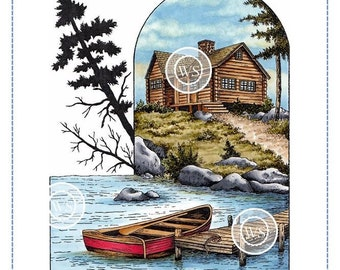 Whimsy Stamps --  Boat Dock  -- NEW -- (#2868)