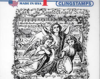 Deep Red Cling Stamps --  Angels Sing -- NEW -- (#2499)