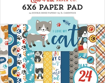 6 x 6 Paper Pad ~ I Love My Cat ~ Double sided NEW (#3588)