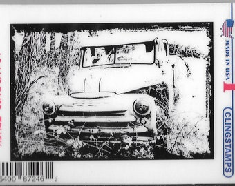 Deep Red Cling Stamps -- Abandoned Truck  -- NEW -- (#2741)