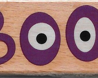 Boo Stamp  --  NEW  -- Wood Mounted Rubber Stamp  --  Studio G Brand  --  (#1437)