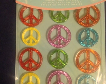 Jolee's Boutique -- Peace Sign Cabochons  --  12 pieces  --  self adhesive dimensional stickers -- NEW   (#1140)