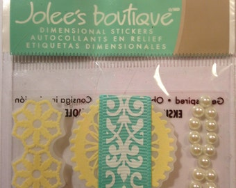 Jolee's Boutique--  Lace and Pearl Borders --3 pieces -- self adhesive dimensional stickers  -- NEW  (#185)