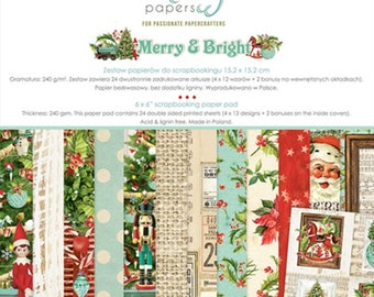 6 x 6 Paper Pad ~ Merry & Bright  ~ Double sided  NEW  (#4039)